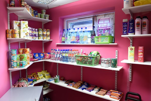 A shop setup within the house with various products
