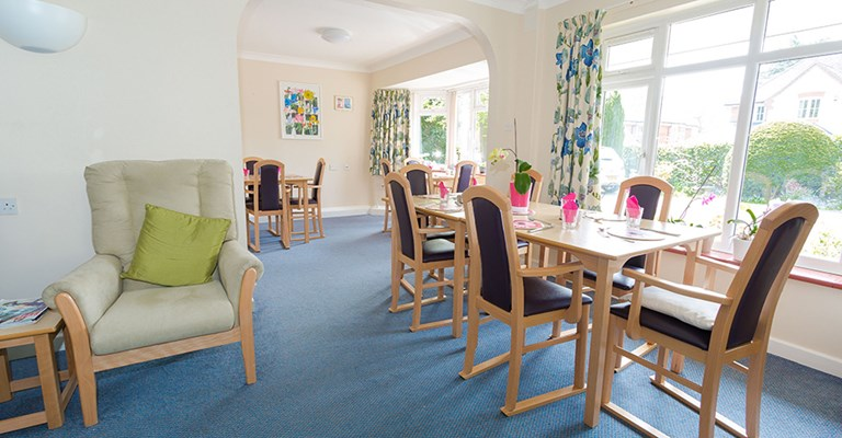 Communal dining room at Mansil House where mealtimes are shared by residents
