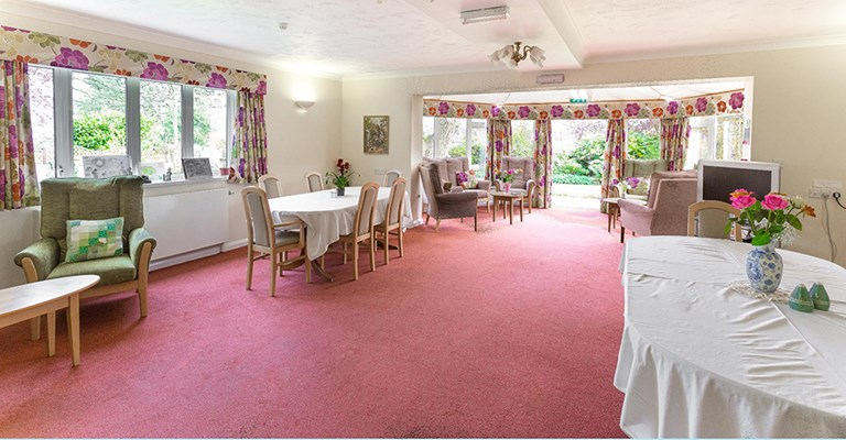 Communal dining room where residents come together to share meal times at Donaldson Lodge