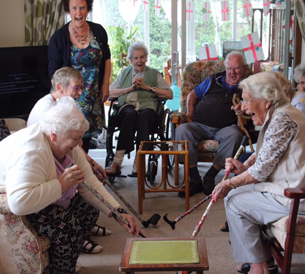 Residents Playing Game