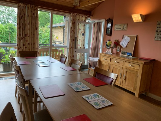 Dining room at Abbeyfield House where mealtimes are shared