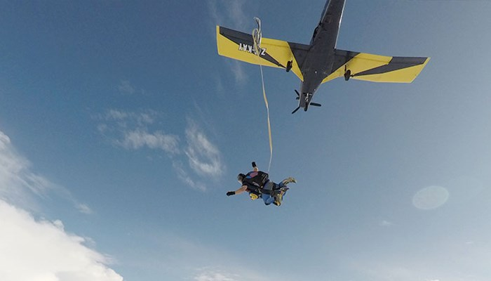 A record breaking skydive for 94 year old daredevil, Adeline