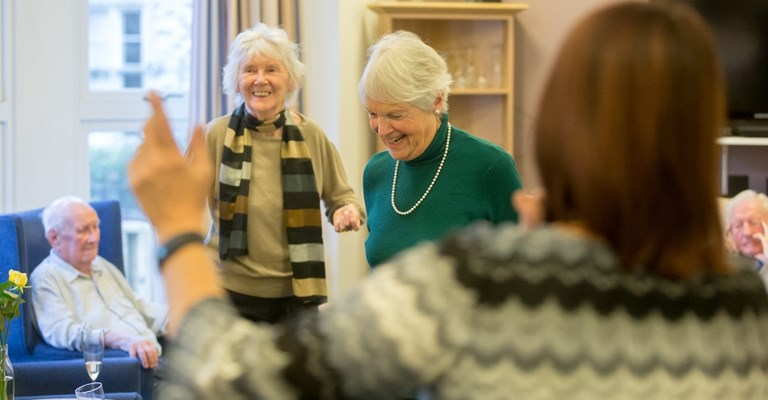Residents of Abbeyfield House dancing