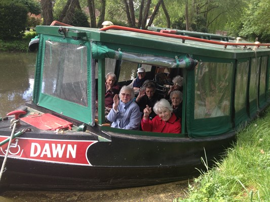 Residents from Hatch Mill House on a canal boat