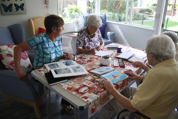 Residents taking part in arts and crafts