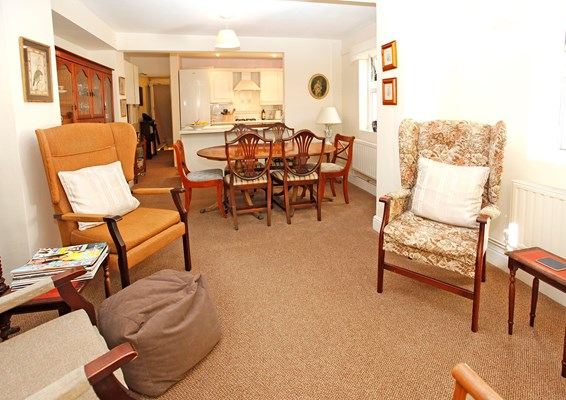 Lounge where residents at Abbeyfield House, Fulham can enjoy socialising