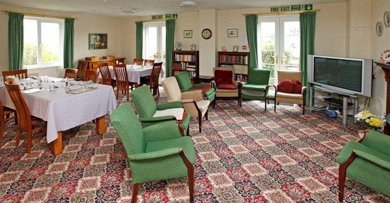 The communal lounge and dining room