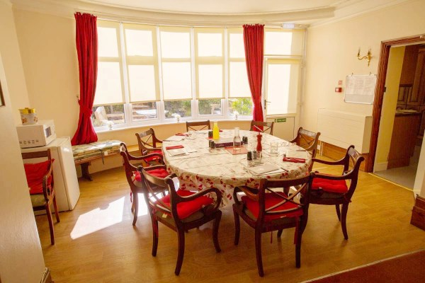 Communal dining room where residents share mealtimes together