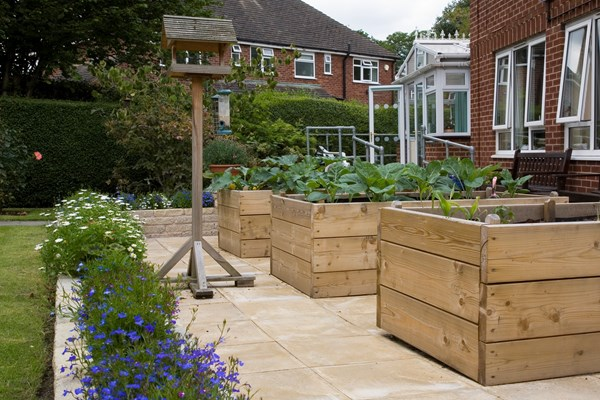 Large wooden planters and a bird table in the garden