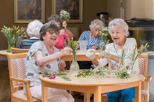 Flower arranging at Jim Gillespie House