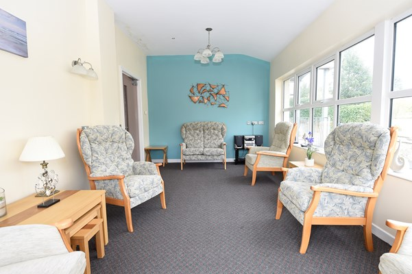 The lounge area with comfortable seating for residents