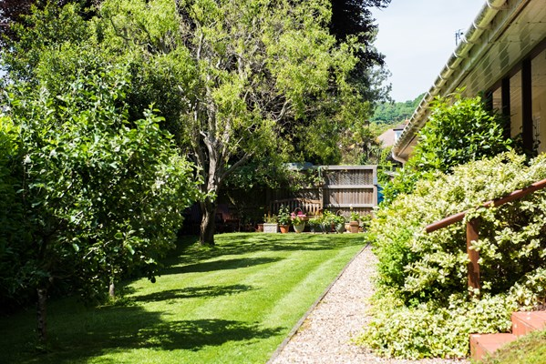 Beautiful sunny garden with trees and shrubs where residents can enjoy a breath of fresh air