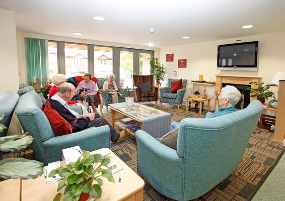 Residents in the communal lounge