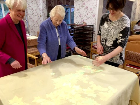 Residents of Abbeyfield Newcastle plating with their new Tovertafel