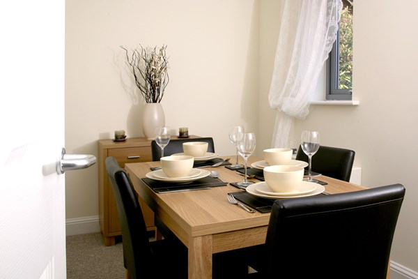 Dining area, set for lunch