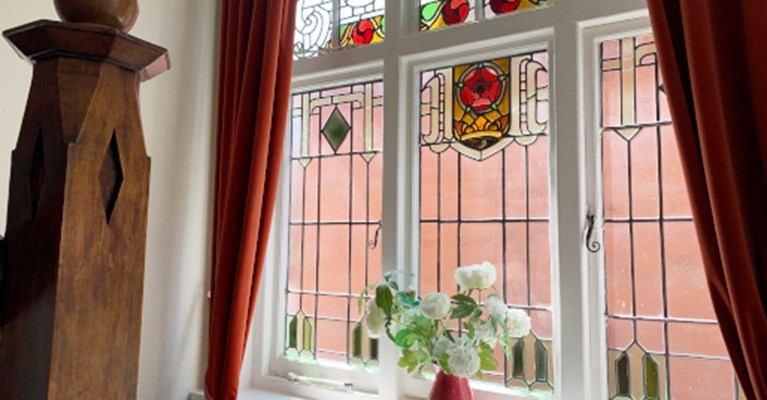 Stain glass windows are a beloved feature of our house