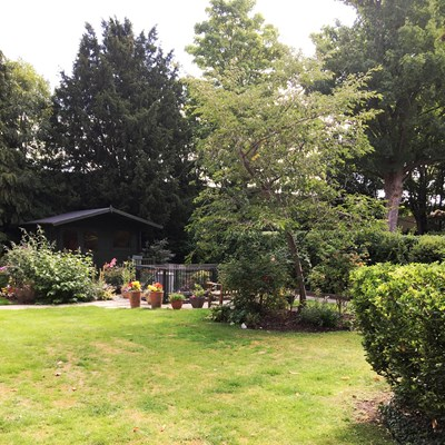 Beautiful, sunny garden with summer house and pond where residents can enjoy peace and quiet and relax